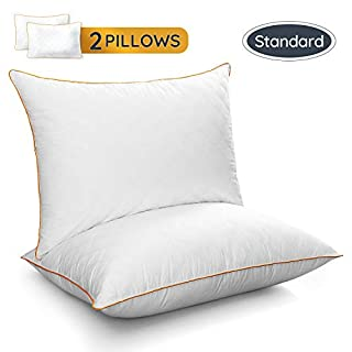 LUTE Standard Pillows Set of 2, Bed Pillows Down Alternative Hypoallergenic Cooling Sleeping Pillow, Soft Premium Plush Fiber Fill for Side Back Stomach Sleepers