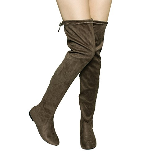 Nature Breeze Damen Vickie Hi Slouchy Overknee Stiefel Taupe