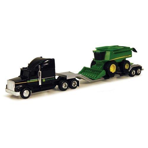 John Deere Harvester - John Deere 1/64 Farm Hauler Semi with Combine Pla