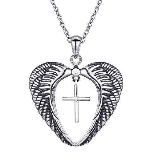 JZMSJF Small Cross Necklace S925 Sterling Silver Memories Angel Wings Love Heart Cross Pendant Necklace God in My Heart Oxidized Angel Wings Jewelry for Women Girls ()