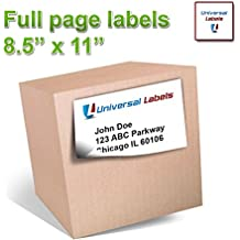 """100 Full Page Shipping Labels - Heavyweight Label For All Laser Inkjet Printers, 8.5"""" x 11"""" Inch Label, Vertically Slitted On Back For Simple Peeling - Matte White - 100 Sheets"""