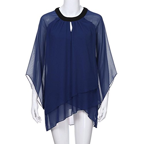 Bekleidung con para Redondo Liso Botones Camisas SANFASHION Mujer Azul dYwzpnxq