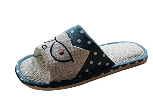 Bronze Times(TM) Unisex Premium Cartoon Cat Polka Dots Flax House Slipper (blue - Cat Polka