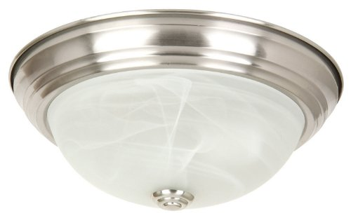 Yosemite Home Decor JK102-13SN Belen 2-Light 13-1/2-Inch Ceiling Flush Mount, Satin Nickel Frame