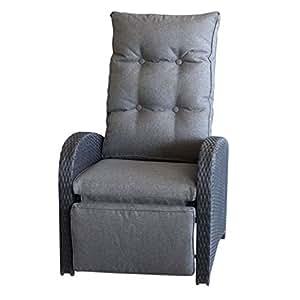 Outsunny–Sillón relax (con reposapiés ajustable negro +–Fregadero Gris/Polirratán–Sillón de ratán Muebles Terraza Balcón Muebles Muebles de Jardín