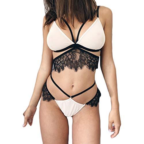 Strap Sexy Underwear Bud Silk Screen V-Neck Pajamas Sexy Lingerie Set Thong Tights MEEYA White ()