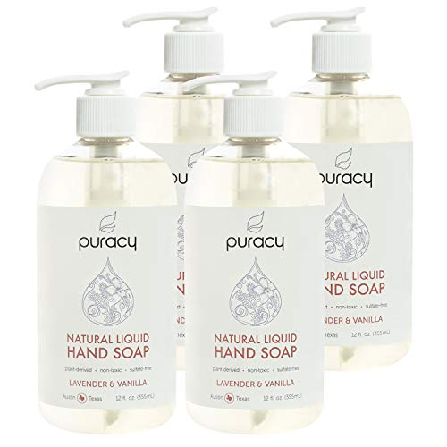 Puracy Natural Liquid Hand Soap, Moisturizing Gel Hand Wash, Lavender & Vanilla, 12 Ounce (4-Pack)