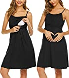 Ekouaer Women's Nursing Nightgown Maternity Dress Breastfeeding Hospital Gown Full Slips Sleepwear (Black, XX-Large)