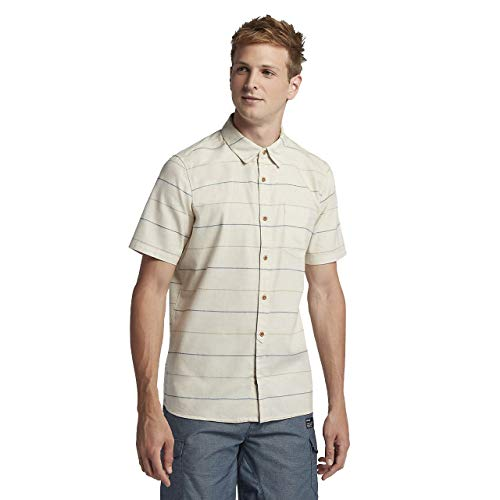 (Hurley AJ1855 Men's Clifton Short Sleeve Shirt, Oatmeal Heather - M)