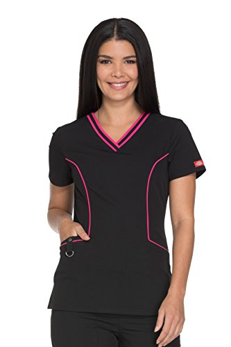Dickies Xtreme Stretch Women's V-Neck Solid Scrub Top XX-Large Black (Contrast Stretch Scrub Top)