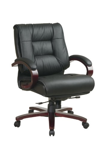 Office Star Mid Back Plush Leather Back and Seat with Deluxe Locking Mid Pivot Knee Tilt and Mahogany Finish Executive -