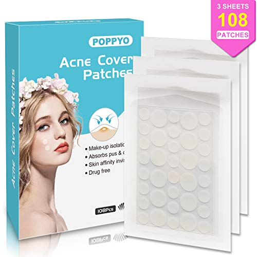 - Acne Patch, Poppyo Acne Care Pimple Patch Absorbing Round Pads, Blemish Covers - Hydrocolloid Bandages (108 Count), Acne Spot Treatment for Face & Skin Spot Patch That Conceals Acne
