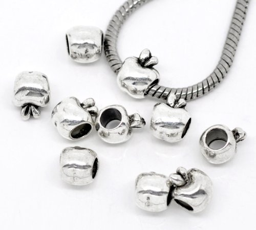 PEPPERLONELY Brand 50PC Antique Silver Apple Charm Beads Fit European Bracelet 7/16 x 3/8 Inch ( 11MM x 9MM ) -