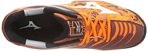 MizunoWave Stealth 3 - Zapatillas de Balonmano Hombre Naranja - Orange (OrangeCamo/White/Black 58)