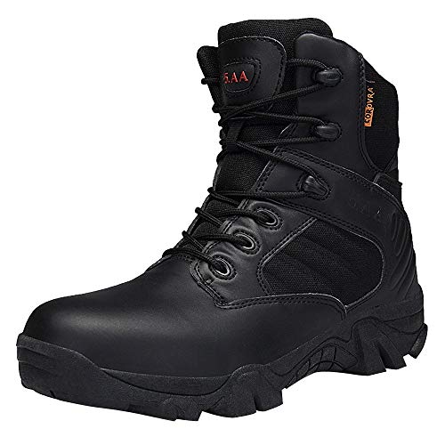 (TIFENNY Men Wear-Resisting Non-Slip Outdoor Climbing Hiking Boots Combat Military Boots Desert Shoes Black)
