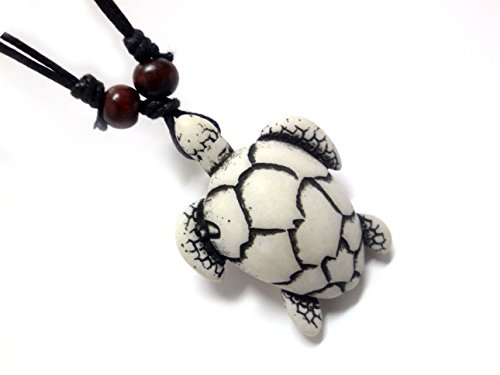 Hawaiian Sea Turtle Pendant Necklace – Handmade Necklace – White Turtle Necklace – Hawaiian Style
