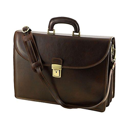 Aktentaschen aus Echtleder - 4024 Dunkelbraun - Echtes Leder Tasche - Mega Tuscany