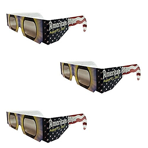 Set Of 3 Solar Eclipse Glasses  Iso 12312 2 Compliant And Ce Certified Eclipse Glasses For Direct Sun Viewing  American Flag