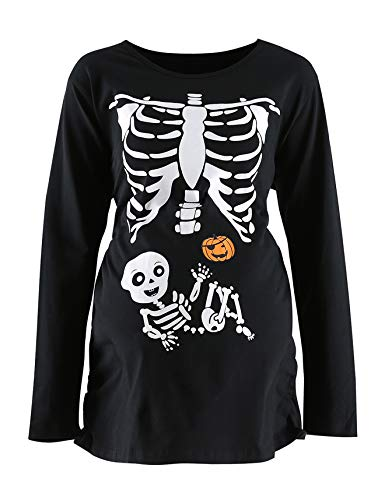 Women's Maternity Funny Xray Halloween Skeleton Costume Pregnancy Cute Long Sleeve Pregnant T Shirts -