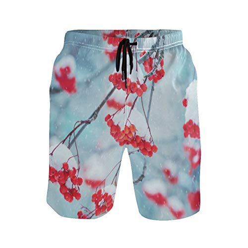 Mens Swim Trunks,Red Bunches of Rowan Covered Snow Beach Board Shorts with Pockets Casual Athletic Swimming Short S