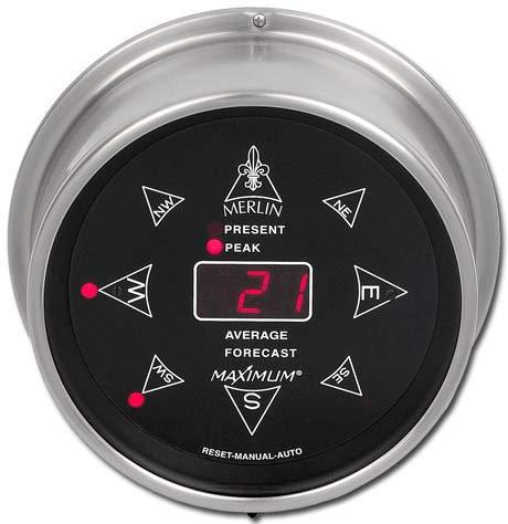 Direction Instrument - Maximum Weather Instruments Merlin Digital Wind Speed and Direction Instrument - Nickel case, Black dial