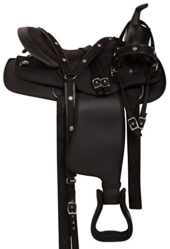 AceRugs NEW COMFY GAITED BLACK CORDURA LIGHT WEIGHT WESTERN SYNTHETIC HORSE SADDLE FREE HEADSTALL REINS BREAST COLLAR (15)