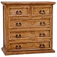 Short 5 Drawer Chest, Real Wood, Rustic, Western, Dresser