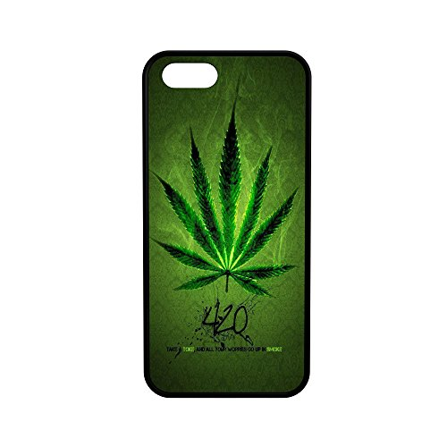 407Case 420 Weed Leaf Protective Rubber Phone Case (Compatible with iPhone 5/5s/se)