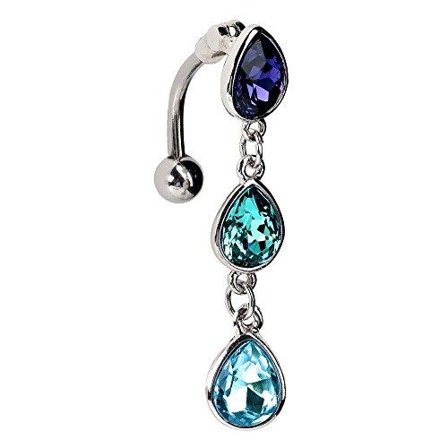 Blue Teardrop Gem Stainless Steel Reverse Dangle Belly Ring (Belly Ring Gem Blue)