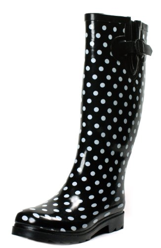 Rain Boots Women Rubber Polka Size New Mid Calf Dot Wellies Flat Styles Sizes Shoes Black Color Dots Rainboots (8, Black Polka Dot)