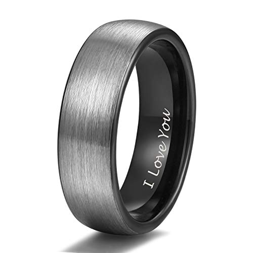 Shuremaster 6mm Black Tungsten Wedding Couple Ring Band Men Women Matte Brushed Engraved I Love You Size 10
