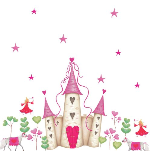 Princess Castle with White Horse and Hearts Giant Wall Decal