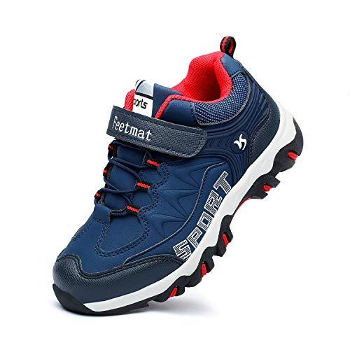 Feetmat Kids Hiking Shoes Waterproof Running Sneaker for Boys Girls Navy Size 6 M Big Kid