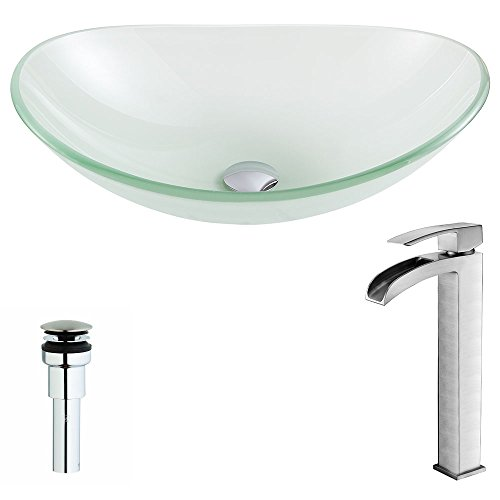 ANZZI Forza Modern Tempered Deco Glass Vessel Oval Sink in Lustrous Frosted with Single Handle Single Hole Key Lavatory Basin Sink Faucet in Brushed Nickel | ()