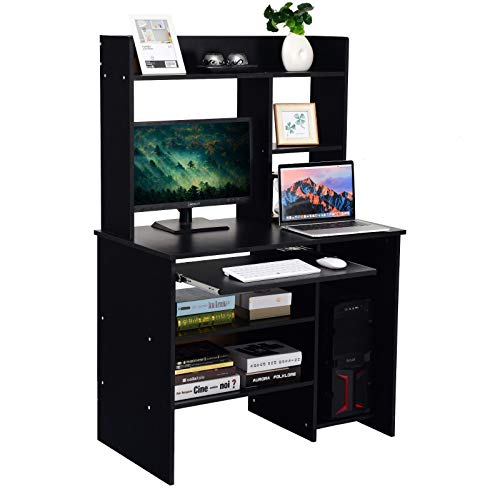(Black Computer Desk Bookcase Storage Shelves Slide-Out Keyboard Tray Laptop Notebook PC Workstation Study Writing Table Home Office Living Room Furniture Dedicated Storage for Vertical CPU Tower)