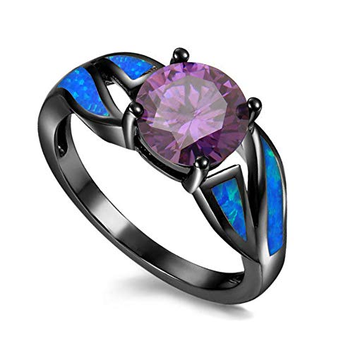 - UFOROO Black Rhodium Plated Blue Opal Infinity Ring Purple CZ Wedding-Bands for Women Size 12