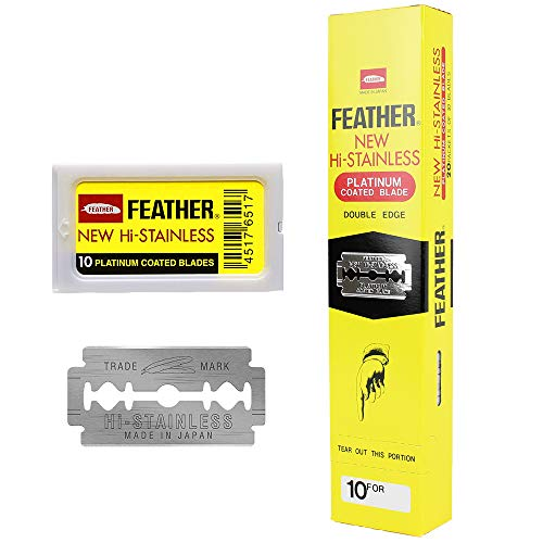 Feather Double Edge Safety Razor Blades - (200 Count) - Platinum Coated Hi-Stainless Steel Razor Blades - Fits Most Safety Razors - Super Sharp for Close Shaves - Japanese Quality