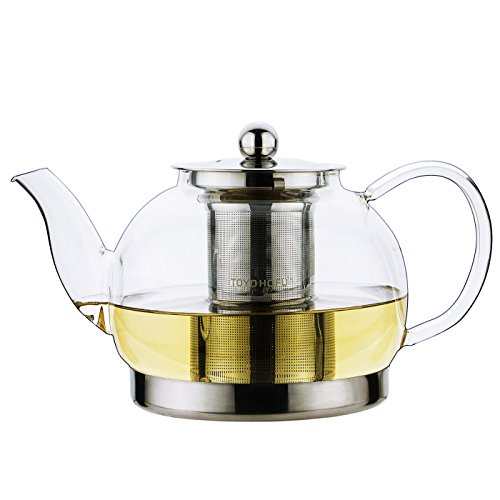 Toyo Glass Teapot with Stainless Steel Lid, Large, 42 oz