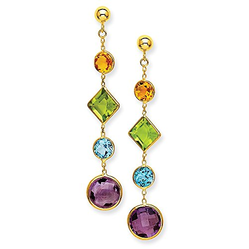 14k Yellow Gold Long Synthetic Muti-Gemstone Post Earrings