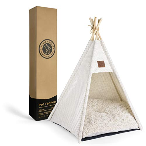 Pickle & Polly - Medium Dog Bed Teepee/Tent for Dogs & Cats - Stylish, Soft, Cozy Dog Bed w/Thick Plush Pad, Durable Fabric & Machine Washable (White)