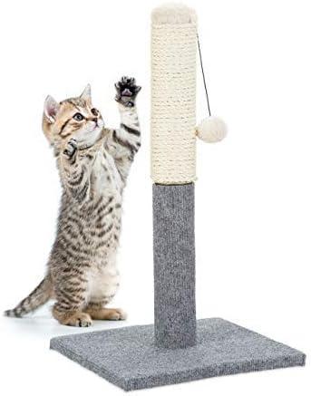 Relaxdays 10023731 Poste Rascador para Gatos con Juguete, Sisal, Gris, 54 x 29.5 x 28.5 cm: Amazon.es: Productos para mascotas