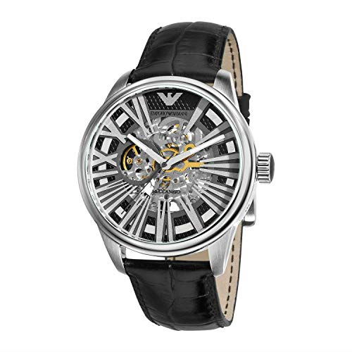 Emporio Armani Emporio Armani Men's AR 4629 Meccanico Black Skeleton Dial Watch Men's Wrist Watches Japan