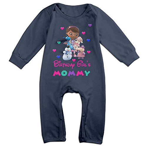 Doc McStuffins Birthday Girl Unisex Long Sleeve Bodysuits Baby Suits Clothes Navy
