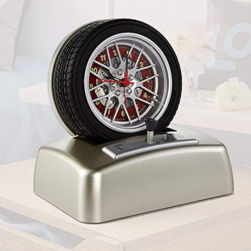 MQW Tire Gift Creative Car Element Rotating Alarm Clock Table Top Decoration Fashion Clock Classic Fashion Decoration Life ()
