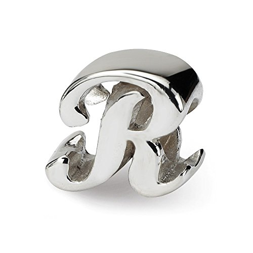 925 Sterling Silver Charm For Bracelet Letter R Script Bead Alphabet Fine Jewelry Gifts For Women For Her ()