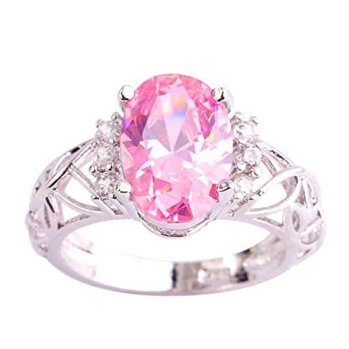 Humasol 925 Sterling Silver Filled Created Oval Cut Pink Tourmaline Engagement Band Ring for Women Girls ()