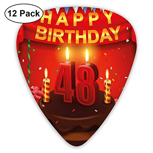 Guitar Picks - Abstract Art Colorful Designs,Presents Chocolate Cake With Candles Party Flag Artsy Print,Unique Guitar Gift,For Bass Electric & Acoustic Guitars-12 Pack