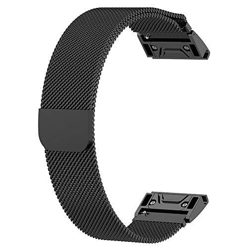 SplenSun Replacement Metal Mesh Loop Band Milanese Bracelet Quick Fit for Garmin Fenix 5,Fenix 5 Plus,Instinct,Marq Series Athlete/Aviator/Captain/Driver/Expedition - Watch 8 Series Ladies Sapphire