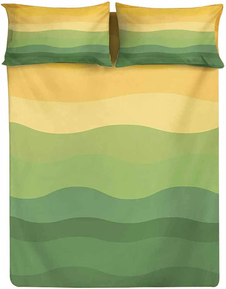 Printed Fitted Green and Yellow Colored Bed Sheet