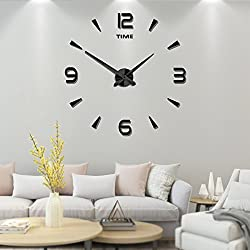 Frameless Large 3D DIY Wall Clock Mute Mirror Stickers Home Office School Decoration(2-Year Warranty) (Black-015)
